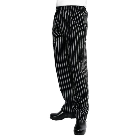 Chef Works Unisex Easyfit Chefs Trousers Black and White Striped 5XL