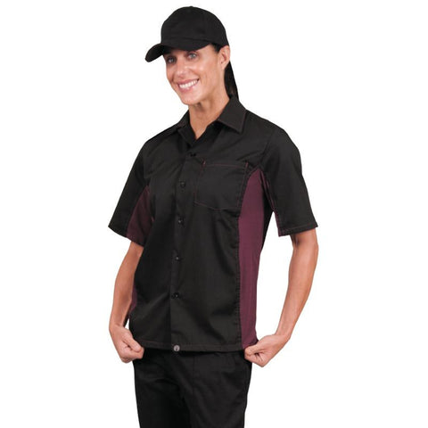 Chef Works Unisex Contrast Shirt Black and Merlot 2XL
