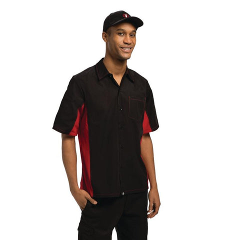 Chef Works Unisex Contrast Shirt Black and Red M