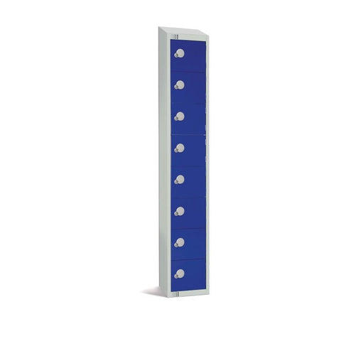 Elite Eight Door Manual Combination Locker Locker Blue with Sloping Top