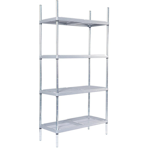 Craven 4 Tier Nylon Coated Wire Shelving With Pads 1700x1175x391mm