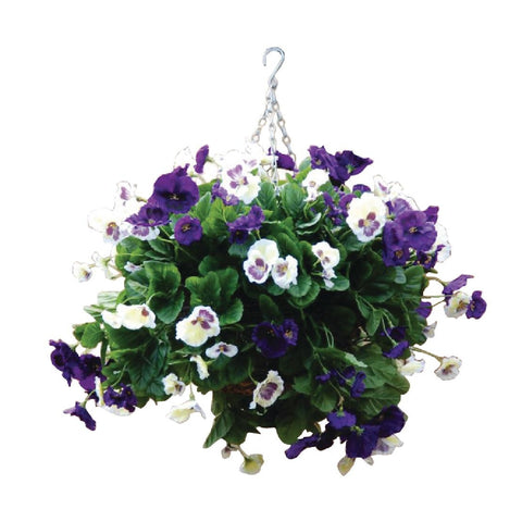 22 inch Purple and White Pansy Ball