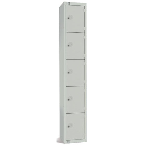 Elite Five Door Coin Return Locker Grey
