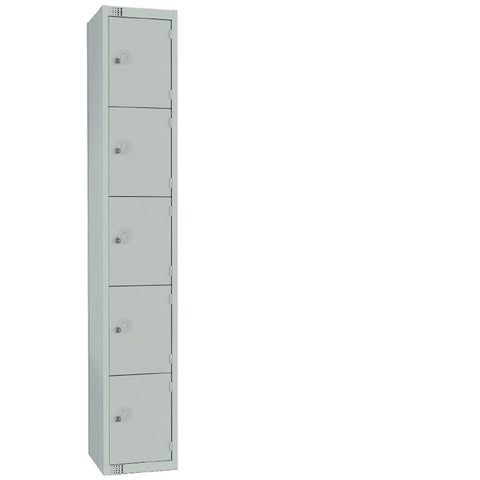 Elite Five Door Padlock Locker with Sloping Top Grey