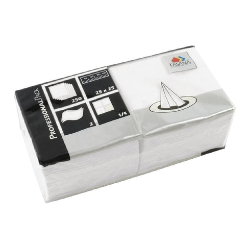 Fasana Cocktail Napkins White 250mm