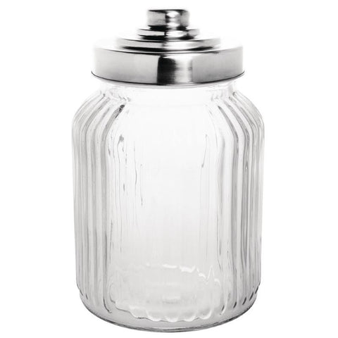 Olympia Ribbed Glass Storage Jar 900ml (Pack of 6)