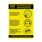 Social Distancing Operating Policy Poster A3 Self-Adhesive