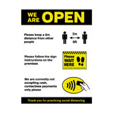 We Are Open Social Distancing Shop Guidance Poster A4 Self-Adhesive