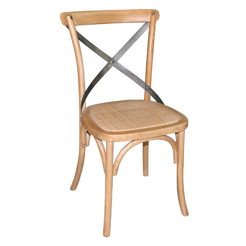 Bolero Natural Wooden Dining Chairs with Backrest (Pack of 2)