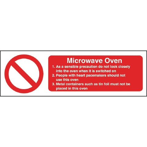 Vogue Microwave Oven Safety Sign