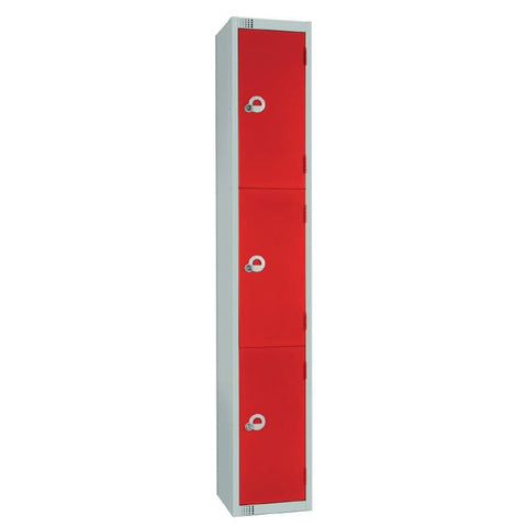 Elite Three Door Manual Combination Locker Locker Red with Sloping Top