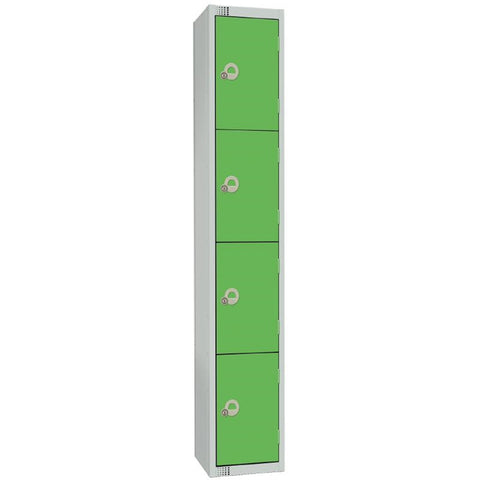 Elite Four Door Coin Return Locker with Sloping Top Green