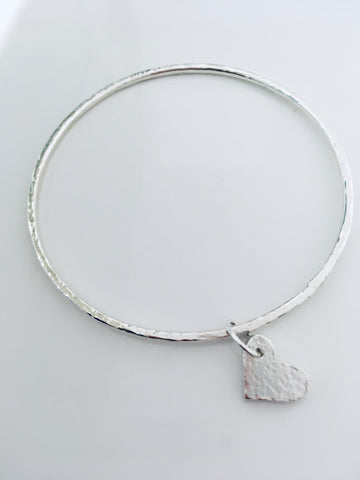 Commission Round wire Bangle with Heart Charm