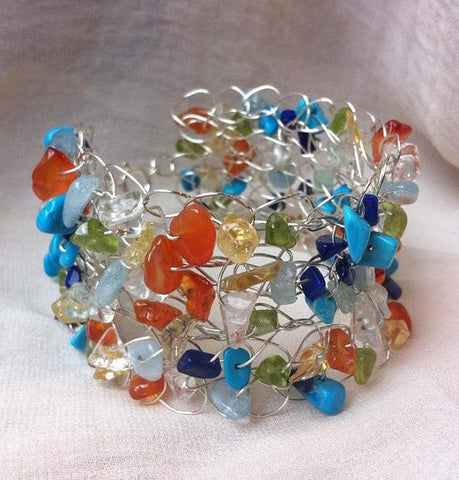 Celebration Birthstone Silver Wire Crochet Cuff