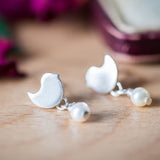 Silver Bird Earrings With Freshwater Pearl Drop