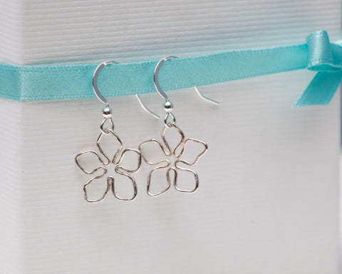 Small Silver Flower Drop Earrings