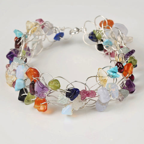 Rainbow Gemstone Silver Wire Crochet Bracelet