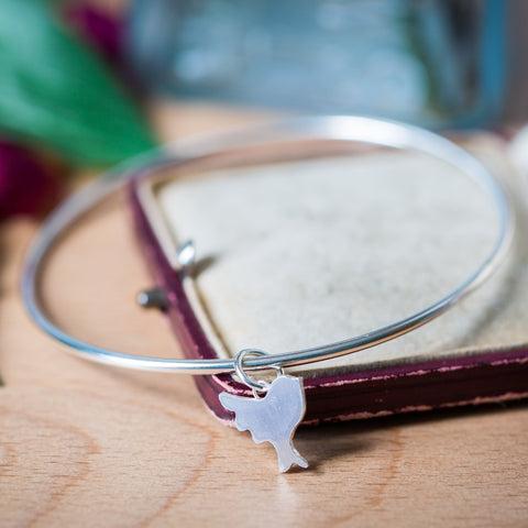 May Your Wings Never Be Clipped Bangle with Bird Charm