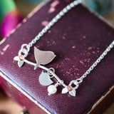 Personalised Silver Bird With Pearl And Chick Necklace