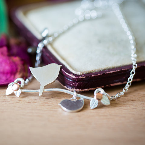 Personalised Silver Mother Bird With Chick Necklace