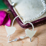 Silver Heart Lovebirds Pendant