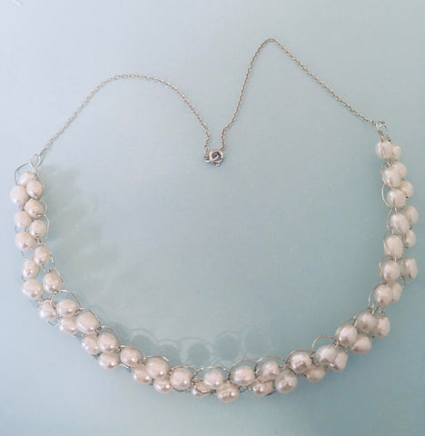 Large Pearl Crochet Necklace