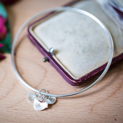 Personalised Silver Bangle With Chick Family Charms
