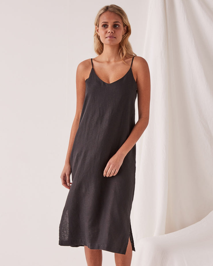 Linen Slip Dress - Black