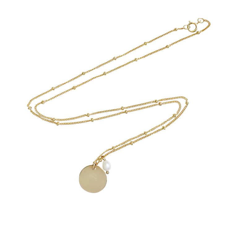 Aria Pearl Classic Disc Necklace - Gold Filled