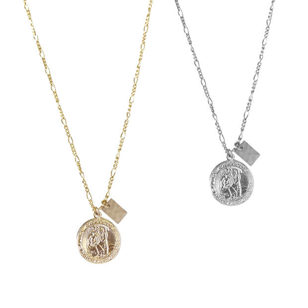 Jean St Christopher Protection Necklace with Charm - Gold Filled