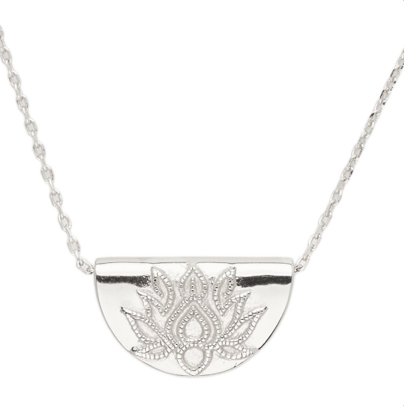 Silver Lotus Short Necklace
