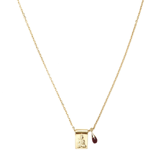 Gold Little Buddha & Ruby Necklace