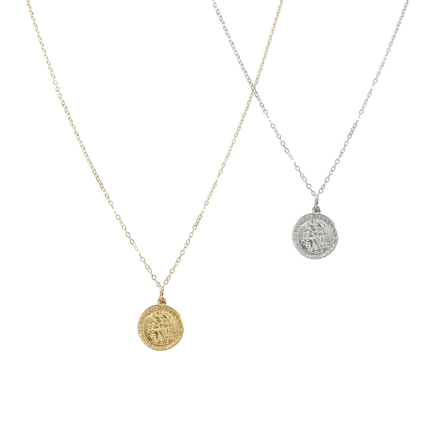 St Christopher Medallion Necklace - Sterling Silver