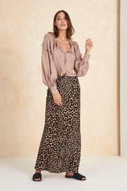 Colca Bias Cut Slip Skirt - Leopard