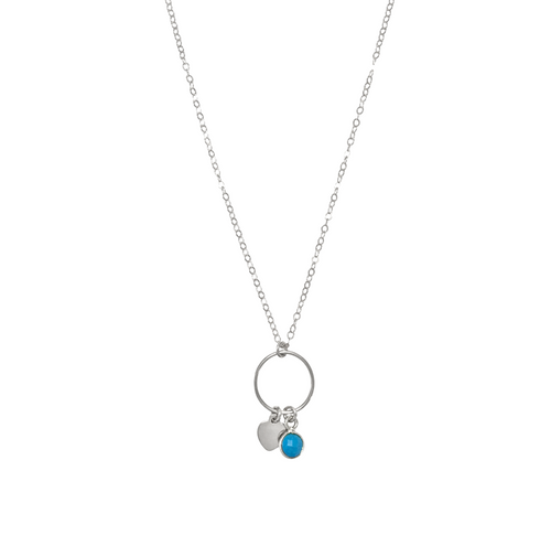 The Leni Ring with Mini Heart and Turquoise Necklace - Sterling Silver