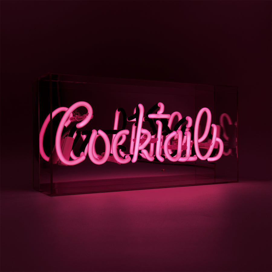 Pink 'Cocktails' Acrylic Box Neon Light - Locomocean