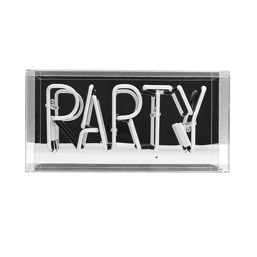 Pink 'Party' Acrylic Box Neon Light