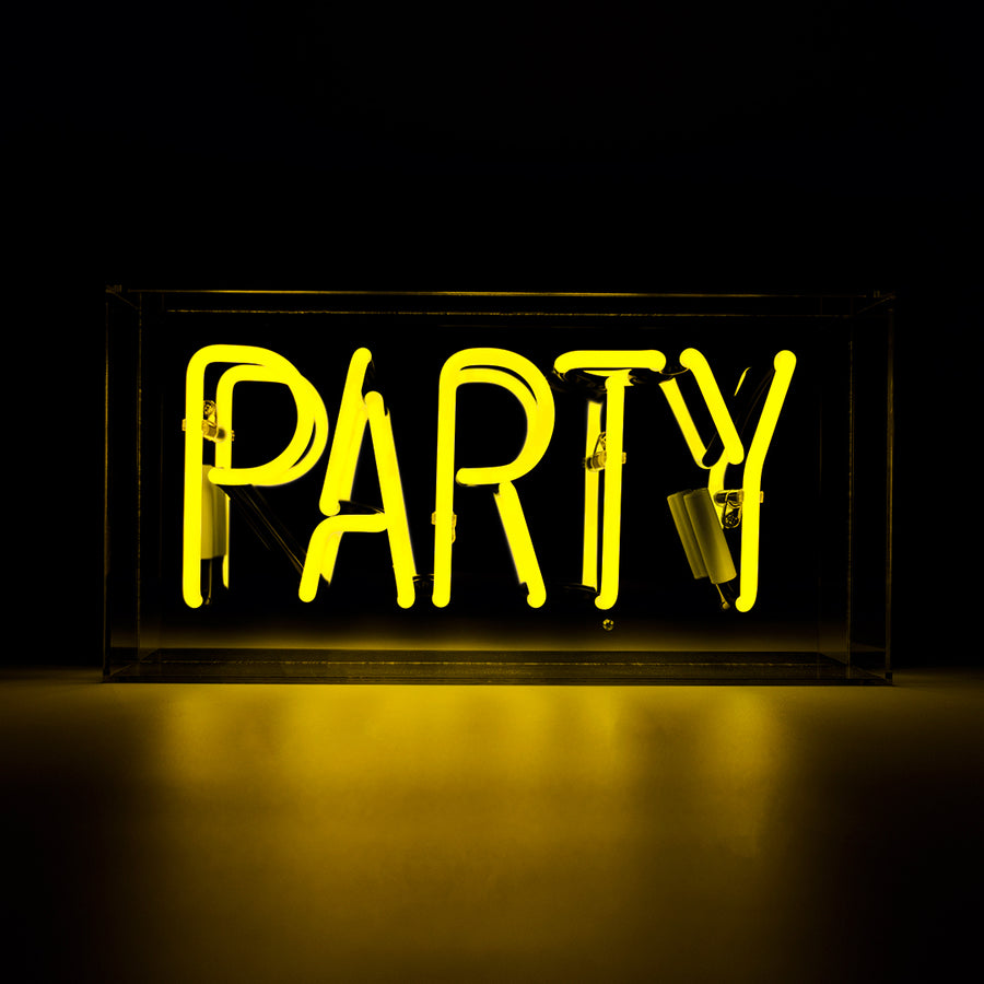 Yellow 'Party' Acrylic Box Neon Light
