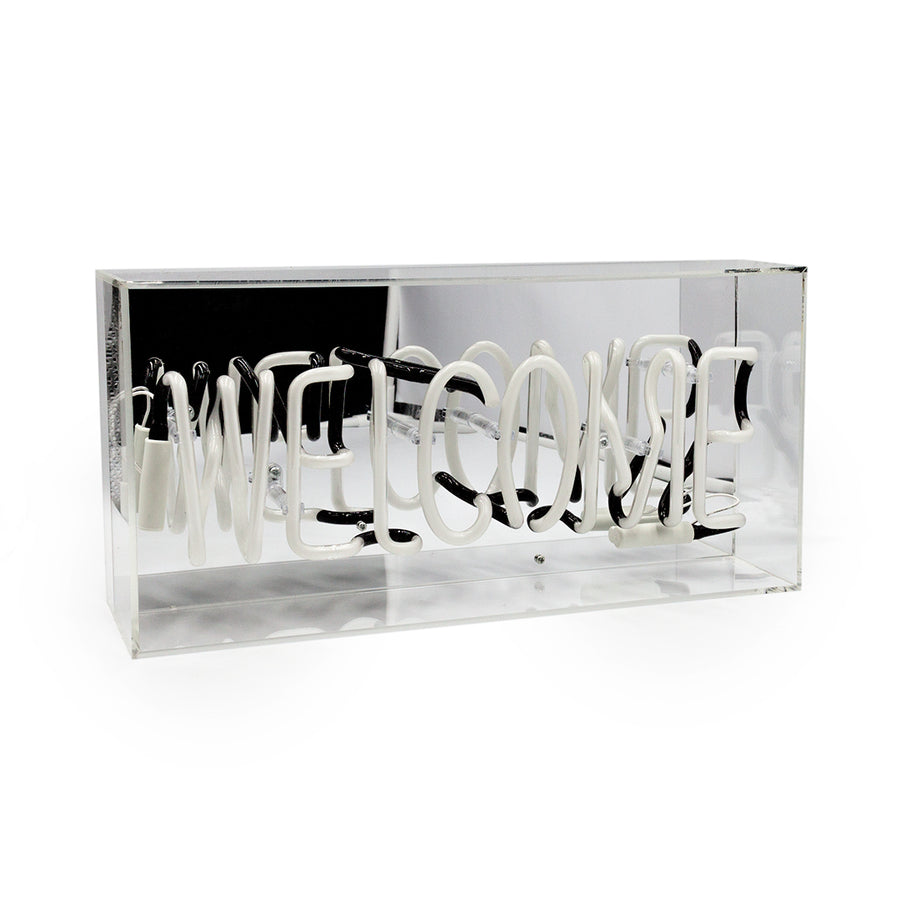 White 'Welcome' Acrylic Box Neon Light - Locomocean