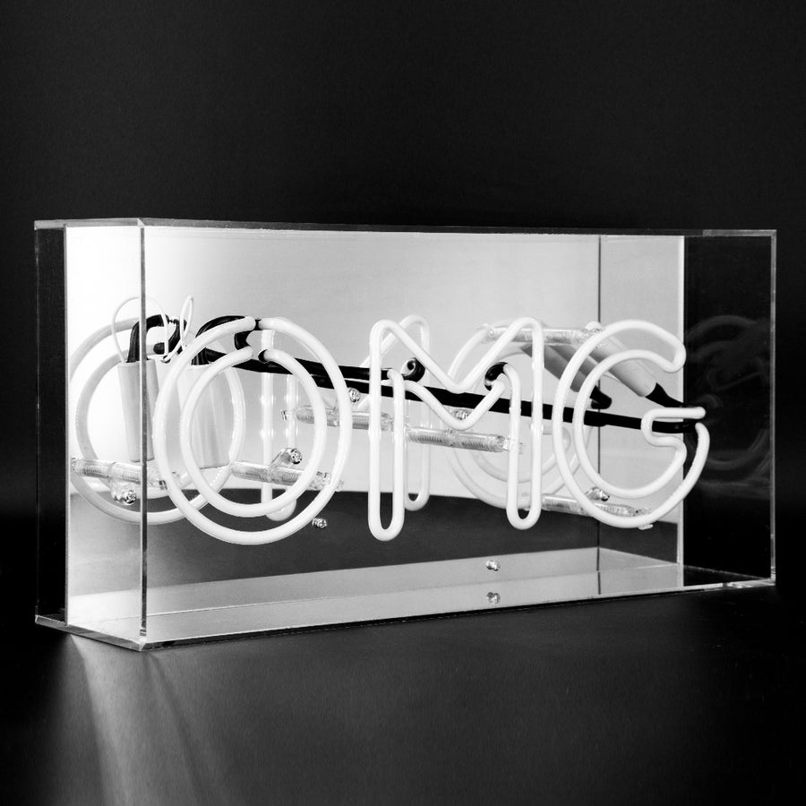 'OMG' Acrylic Box Neon Light - Pink - Locomocean