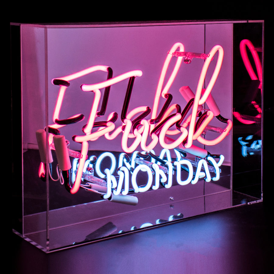Pink 'Fuck Monday' Large Acrylic Box Neon Light - Locomocean Ltd
