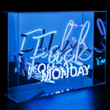 Blue 'Fuck Monday' Large Acrylic Box Neon - Locomocean