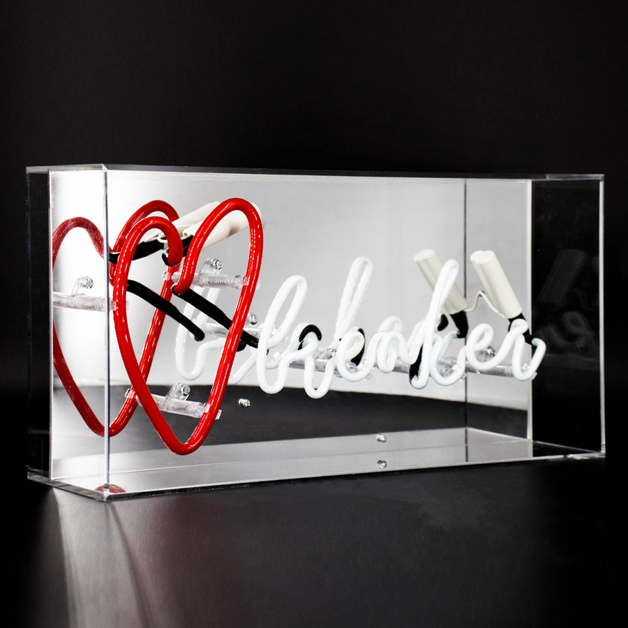 Red and White 'Heart Breaker' Acrylic Box Neon Light - Locomocean