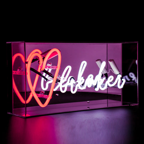 Red and White 'Heart Breaker' Acrylic Box Neon