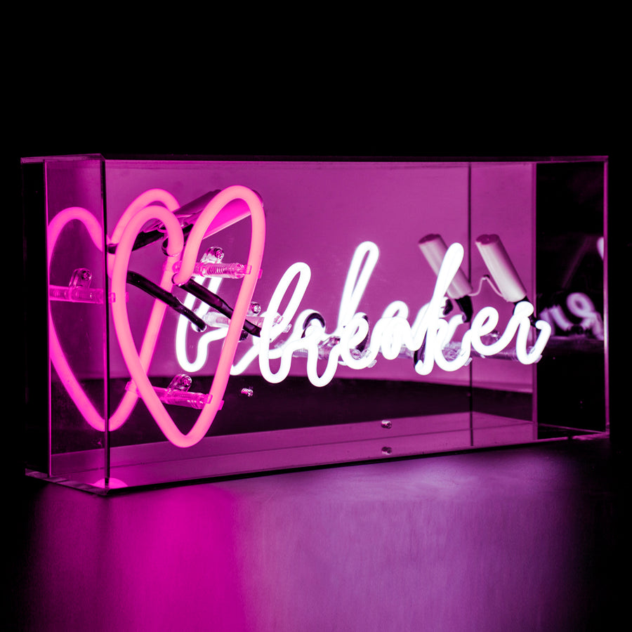 Pink and White 'Heart Breaker' Acrylic Box Neon Light - Locomocean Ltd