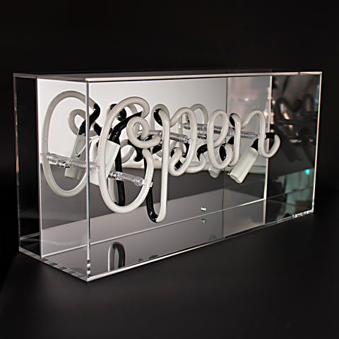 'Open' Acrylic Box Neon