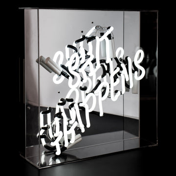 'Shit Happens' Large Acrylic Box Neon Light - Locomocean