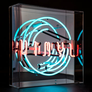 'Vinyl' Large Acrylic Box Neon Light - Locomocean