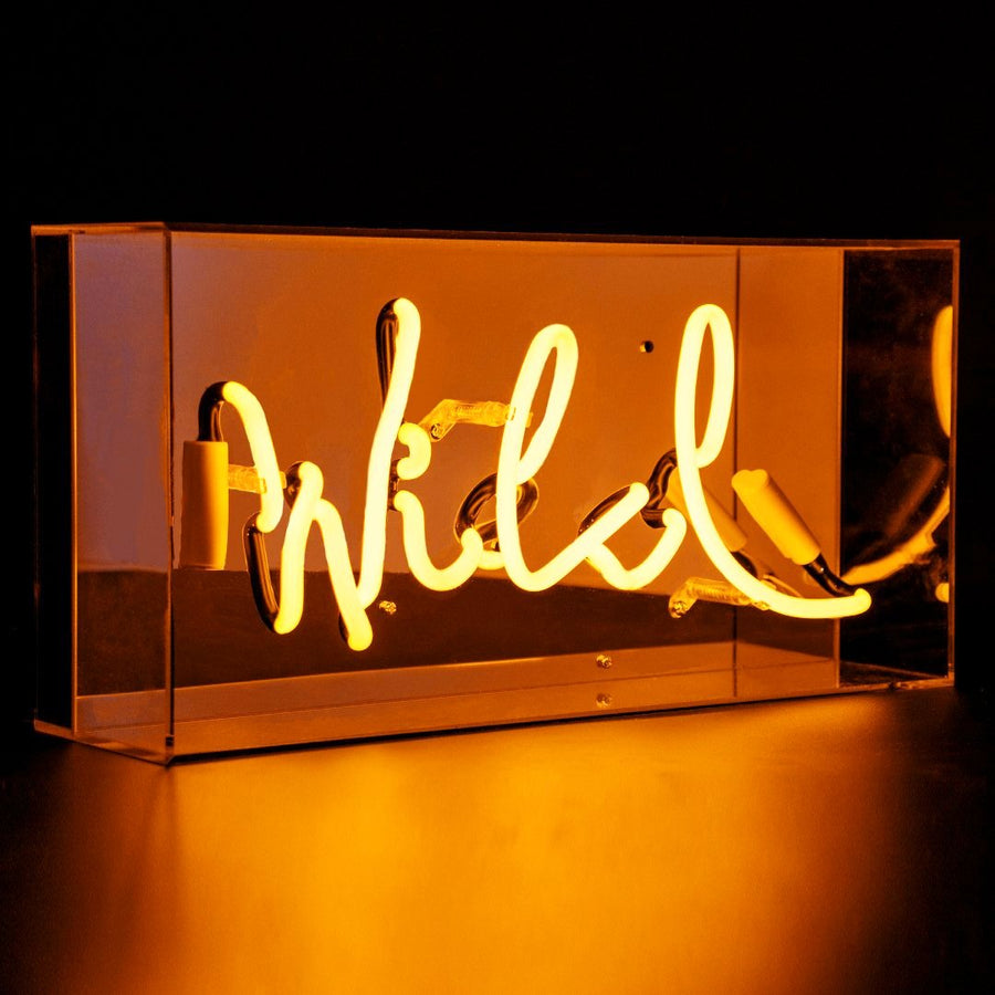'Wild' Acrylic Box Neon Light in Orange - Locomocean