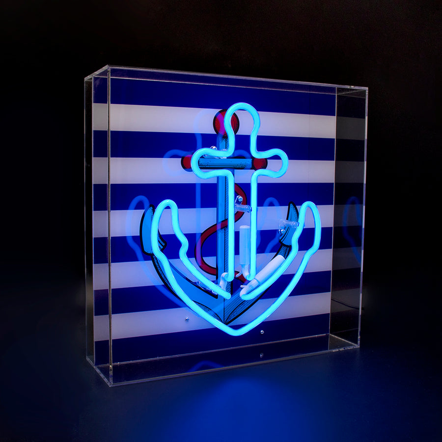 'Anchor' Large Acrylic Box Neon Light with Graphic - Locomocean